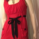 Retro Rockin Red Pinup Babydoll Belted Top Sz L