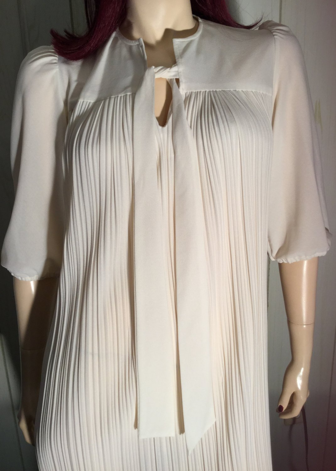 MOD Crystal Pleats Tie Neck Vintage 70's Mini Party Dress M/L