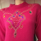 Vintage 80s Mariea Kim Bedazzled Jeweled Sequin Beads Embellished Pink Angora Sweater MINT NWT Sz S