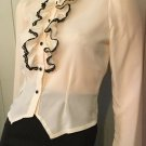 Vintage 70s Ruffle Cameo Puff Slv Colonial Lady Style Blouse Top Sz S