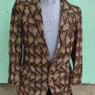 Vintage 60s 70s VIVA LAS VEGAS FLASHY Men's Brown Velvet Psychedelic Sports Coat Blazer Jacket  S/M