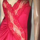 Vintage 70s SEXY SIREN Red High Cut Slit Lacy Formfit Nylon Slinky Nightgown M.