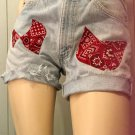 Rockabilly Gal Classic Blue Denim LEVI'S Cut Off Jean Shorts w Bandana Patches ooak SZ 31