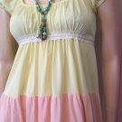 Vintage BOHO 70s Springtime Tiered Pastel Colorblock Nylon Maxi Nightgown Jrs by BARAD Sz 5