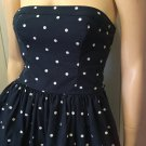 Retro Polka Dot Print Strapless Cotton Flairy Flirty Pinup Doll Mini Dress Abercrombie & Fitch Sz M