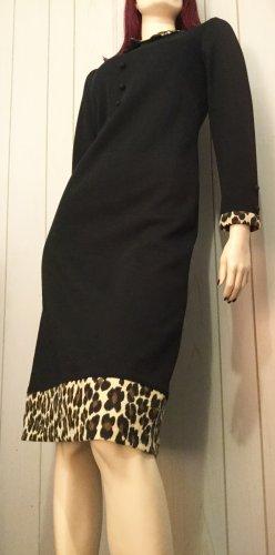 Vintage 60s MOD Mad Men Style Leopard Print Trim Black Pencil Dress Sz S/M