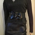 Vintage 90s Glam Silver Glitter Shimmery Lurex Top Sz M