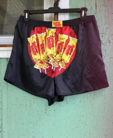 SUGAR DADDY Retro Candy Men's Novelty Black Satin Boxer Shorts XXL