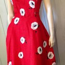 Vintage Hawaiian Pin Up Style Red Floral Cotton Sundress S/M