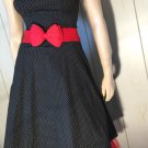 Ruby Rox Black Strapless Polka Dot Rockabilly Pinup Doll Retro Swing Dress Sz 7