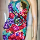 Vintage 80s BOMBSHELL BB Collections Watercolor Floral Party Pencil Dress XS