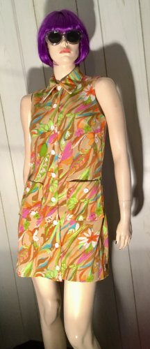 Groovy Vintage 60s Flower-Power Psychedelic MOD Shift Mini Dress S