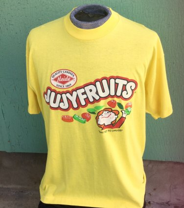 """Vintage 80s JUJYFRUITS """"SAY NO TO DRUGS"""" Men's Yellow Cotton RETRO CANDY Novelty T Shirt Sz XL"""