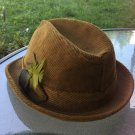 Vintage 1960s MAD MEN Men's Fedora Trilby Brown Corduroy Feather Hat
