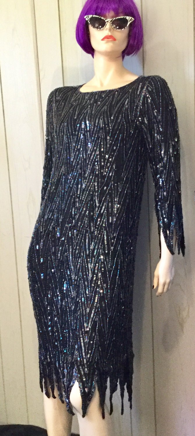 Vintage 1980's FLAME HEM Black Sequin Beaded Silk Party Dress GLAM S/M