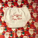 Vintage 70s I Believe in Santa Claus Embroidered Infants Christmas Panty Bottoms