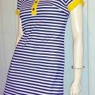 Vintage 60s 70s Designer VICKY VAUGHN JR Sassy Stripes MOD GO GO Style Micro Mini Dress S.
