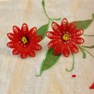 Vintage 1940s 50s Featherlite Plastic Christmas Red Poinsetta Screw back Earrings