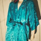 Vintage 60s Teal Blue Cathay Hong Kong Silk Damask Kimono Robe