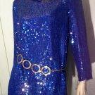 Vintage 80s GLAM Blue Sparkly Sequin Silk Party Top/Mini dress Sz M