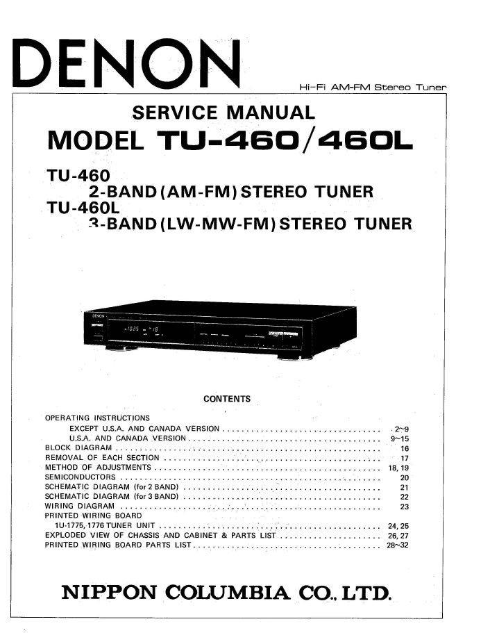 Denon TU-460 ,TU-460L Stereo Tuner Service Manual PDF