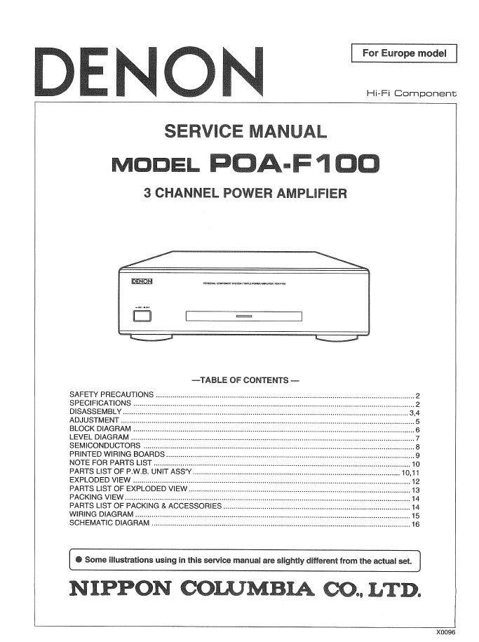Denon POA-F100 Power Amplifier Service Manual PDF