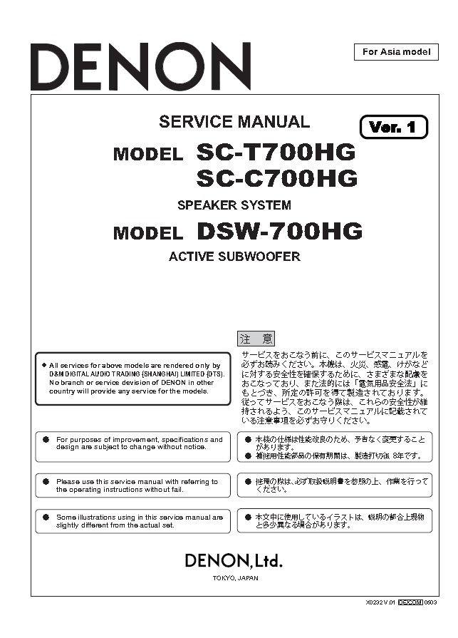 Denon DSW-700HG Ver.1 Subwoofer Service Manual PDF