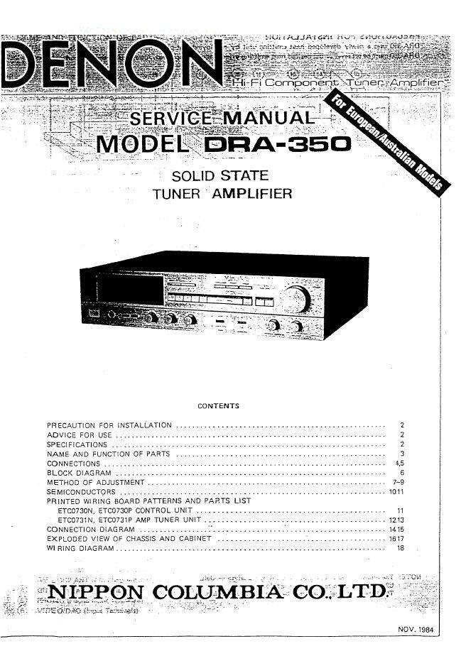 Denon DRA-350 Receiver Service Manual PDF