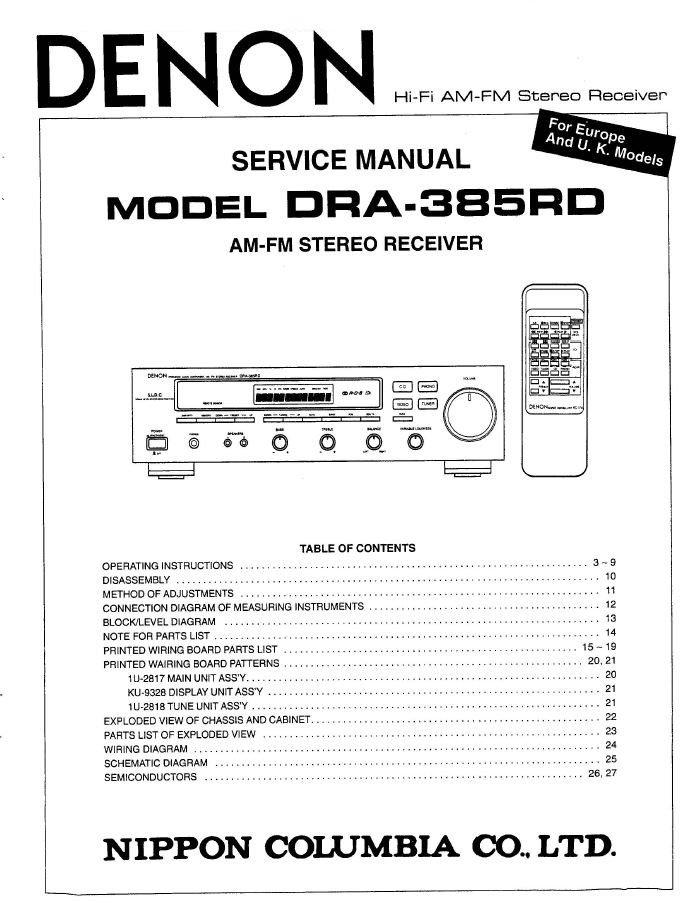 Denon DRA-385RD Receiver Service Manual PDF