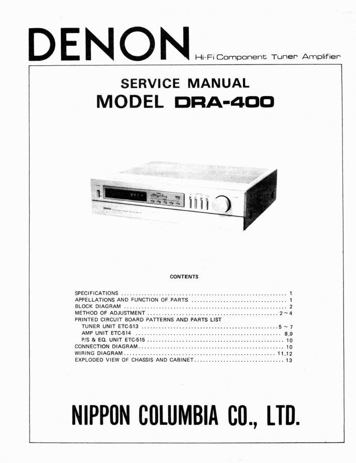 Denon DRA-400 Receiver Service Manual PDF