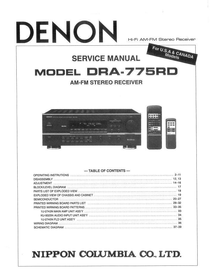 Denon DRA-775RD Receiver Service Manual PDF