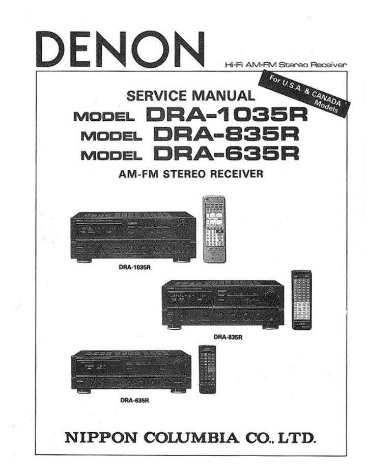 Denon DRA-1035R ,DRA-835R,DRA-635R Receiver Service Manual PDF