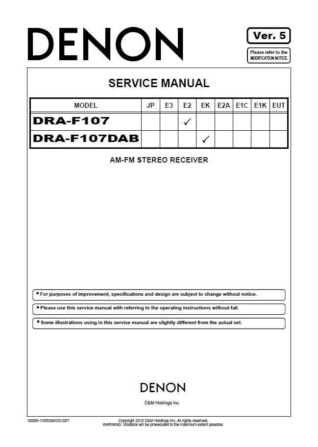 Denon DRA-F107 ,DRA-F107DAB Ver.5 Receiver Service Manual PDF