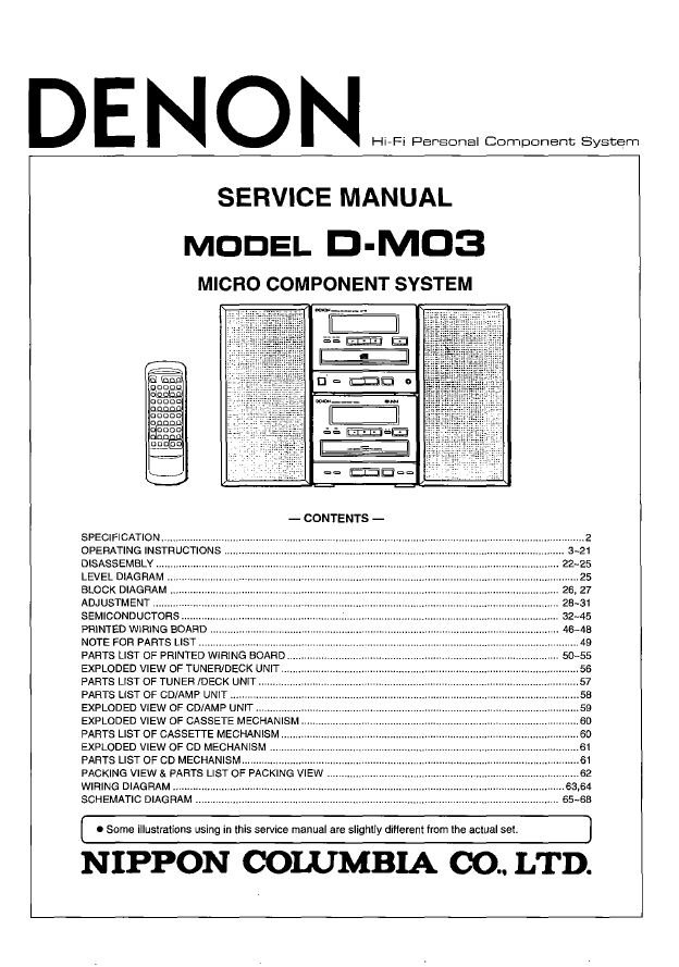 Denon D-M03 Micro System Service Manual PDF