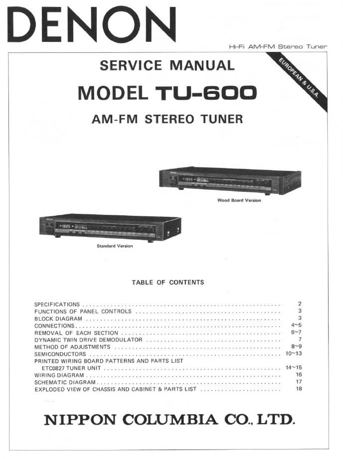 Denon TU-600 Stereo Tuner Service Manual PDF