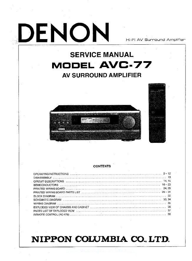 Denon AVC-77 Surround Amplifier Service Manual PDF