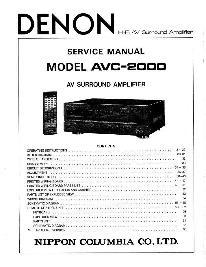 Denon AVC-2000 Surround Amplifier Service Manual PDF
