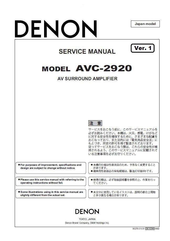 Denon AVC-2920 Ver.1 Surround Amplifier Service Manual PDF