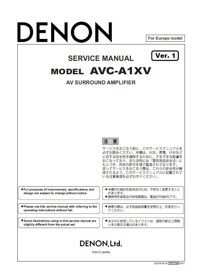Denon AVC-A1XV Ver.1 Surround Amplifier Service Manual PDF