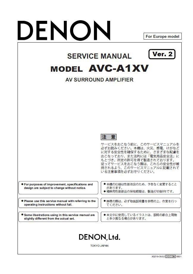 Denon AVC-A1XV Ver.2 Surround Amplifier Service Manual PDF