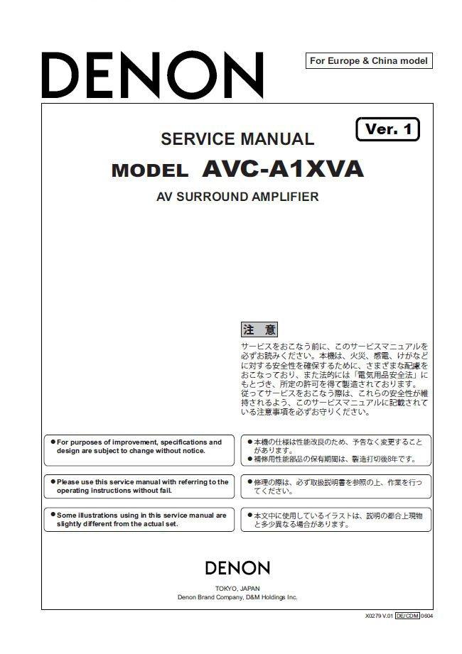 Denon AVC-A1XVA Ver.1 Surround Amplifier Service Manual PDF