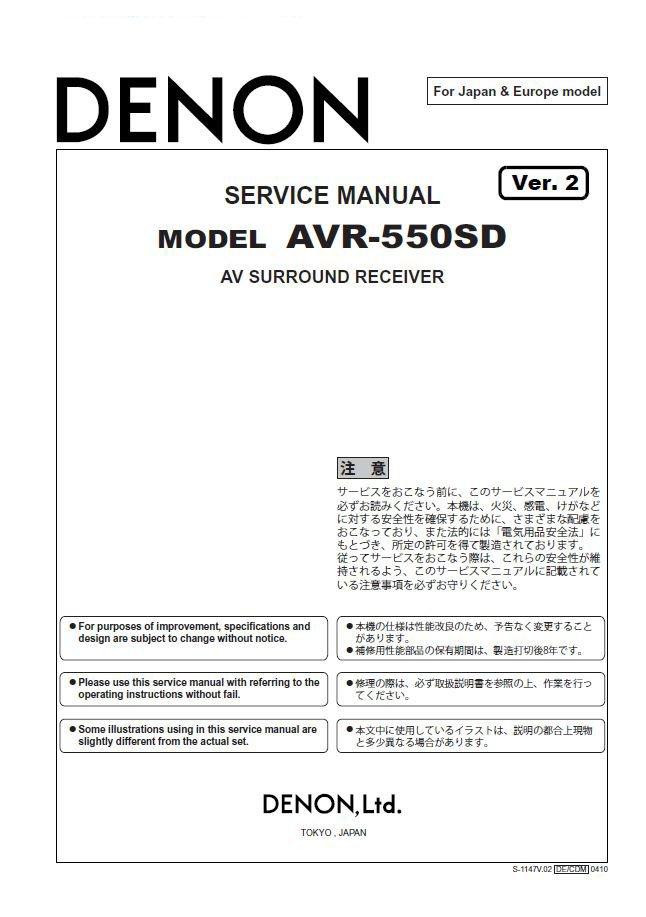 Denon AVR-550SD Ver.2 Surround Receiver Service Manual PDF