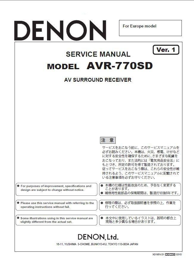 Denon AVR-770SD Ver.1 Surround Receiver Service Manual PDF