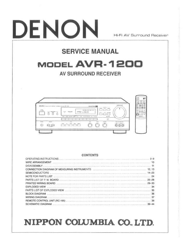 Denon AVR-1200 Surround Receiver Service Manual PDF