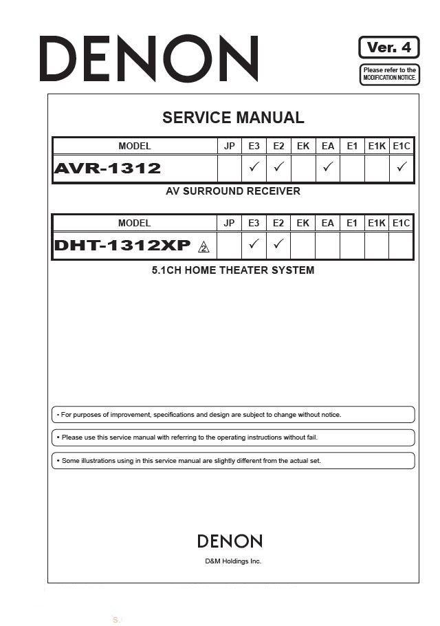 Denon AVR-1312 ,DHT-1312XP Ver.4 Surround Receiver Service Manual PDF
