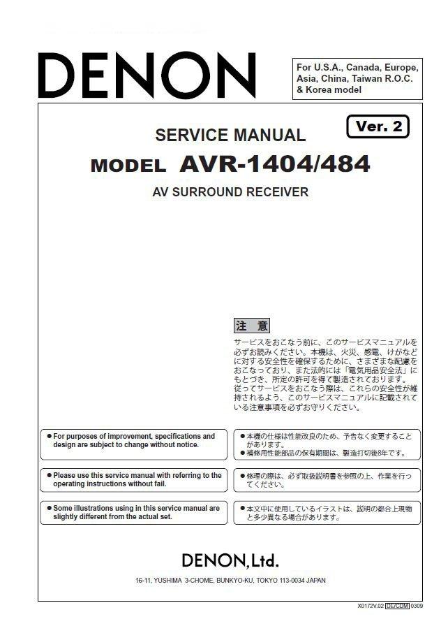 Denon AVR-1404 ,AVR-484 Ver.2 Surround Receiver Service Manual PDF