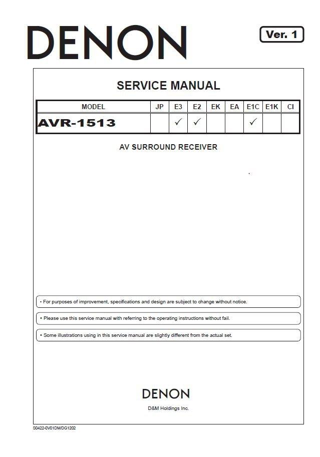Denon AVR-1513 Ver.1 Surround Receiver Service Manual PDF