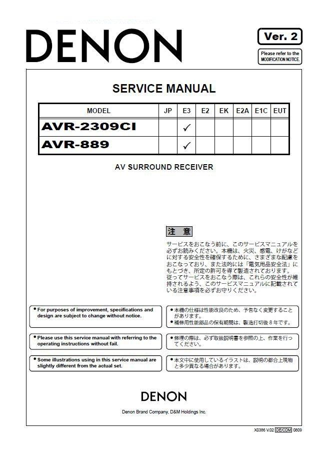 Denon AVR-2309CI ,AVR-889 Ver.2 Surround Receiver Service Manual PDF