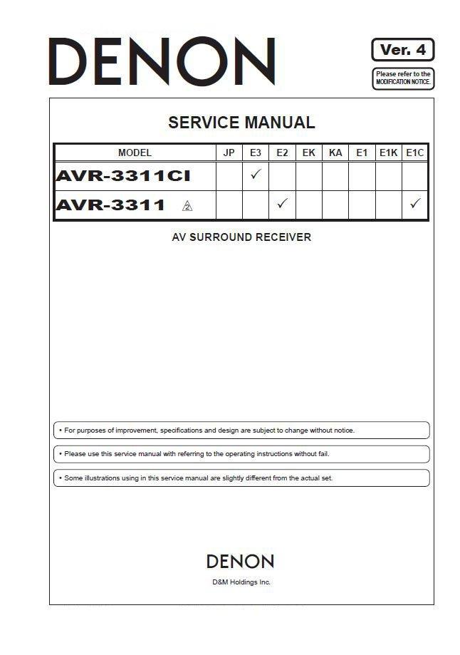Denon AVR-3311CI ,AVR-3311 Ver.4 Surround Receiver Service Manual PDF