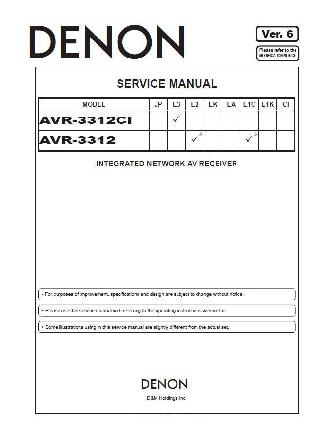 Denon AVR-3312CI ,AVR-3312 Ver.6 Surround Receiver Service Manual PDF